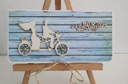 Kartka ślubna rustykalna para na rowerze