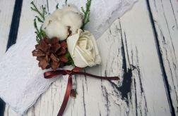 Butonierka ślubna bawełna, szyszka, sola