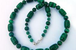 Malachit zielony, naszyjnik w srebrze