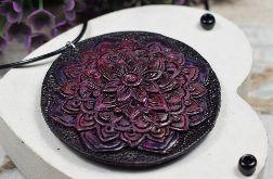 Duży wisiorek Mandala w odcieniach fioletu, śliwki