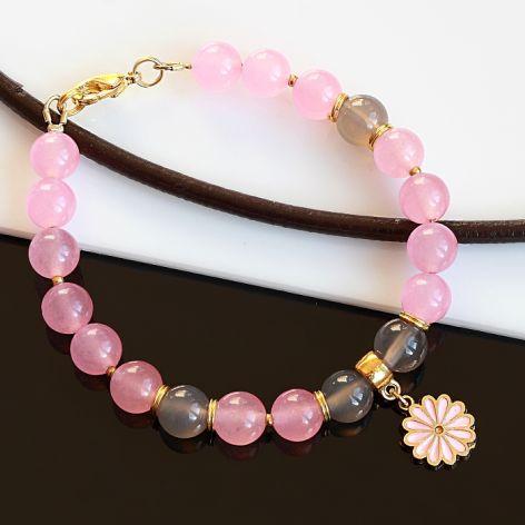 Różowo-szara bransoletka
