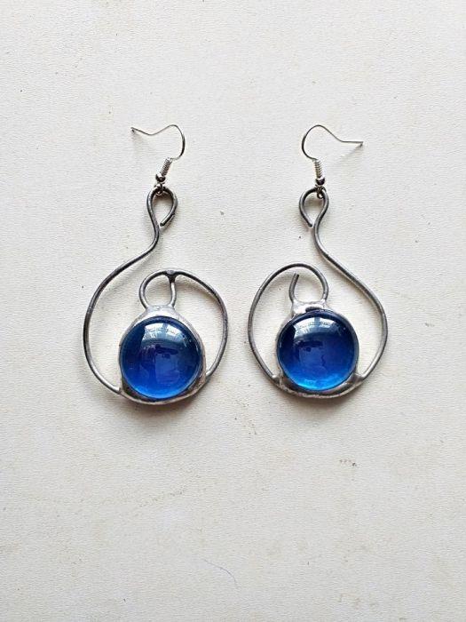 Kolczyki Zawijas Tiffany niebieski - kolczyki niebieskie