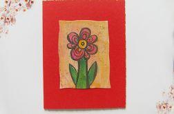 Kartka uniwersalna czerwona z kwiatkiem  5