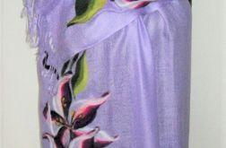 Szal pashmina lilie - filcowany motyw