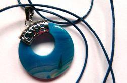 Niebieski agat z dziurką, donut, wisiorek