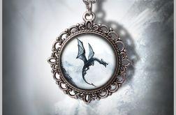 Medalion Czarny Smok - Black Dragon - zdobiony