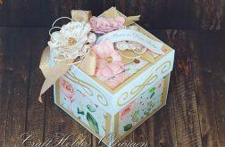 Torcik różano-złoty - ślubny exploding box