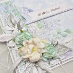 Kartka ślubna z papierowymi kwiatami - Lewy bok