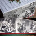 Chustecznik vintage świąteczny z dziećmi - zdjęcie pokazuje jak wygląda chustecznik widziany od góry - widać napisy listu o narodzinach Pana, oraz fotografie dzieci bawiących się na sankach (zdjęcia romantyczne vintage), dolne zdjęcie to powiększenie fotografii z dłuższego boku chustecznika