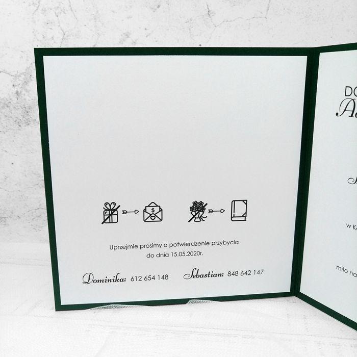 zaproszenia ślubne butelkowa zieleń 044 - lewa strona