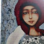 Niebieski  Anioł z warkoczem- obraz na desce -