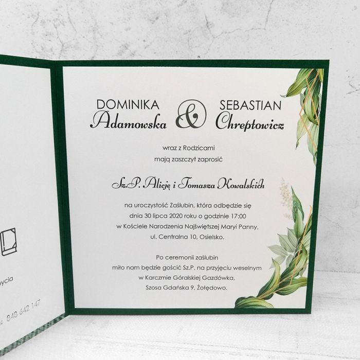 zaproszenia ślubne butelkowa zieleń 044 - prawa strona