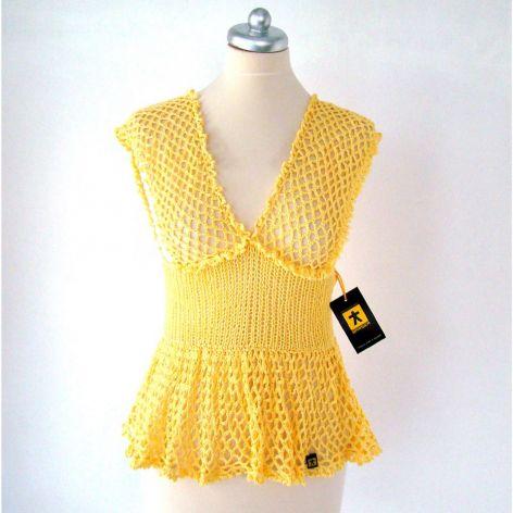 bluzka ażurowa z baskinką, jasnożółta