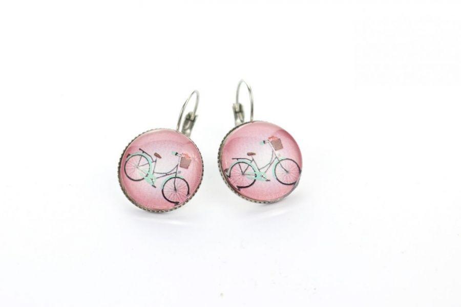 Kolczyki wiszące z rowerem w różu