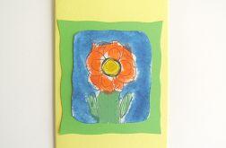 Kartka żółta z kwiatkiem 18