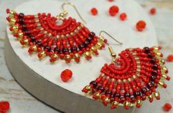 Czerwone kolczyki boho - wachlarze