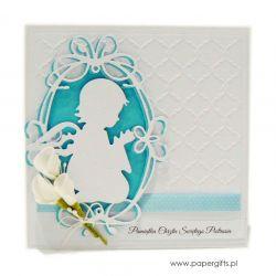 Kartka na chrzest z aniołkiem