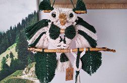 Sowa z makramy - zielona