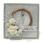 Kartka ślubna szara ręcznie robiona