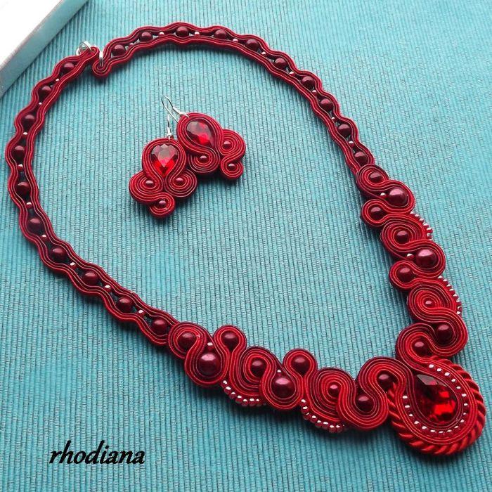 RubinLOVE- wyjątkowy naszyjnik + kolczyki - Naszyjnik i kolczyki sutasz  kolor rubinowy czerwony wiśniowy całość- Rhodiana
