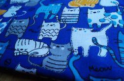 Kosmetyczka bawełniana niebieska koty