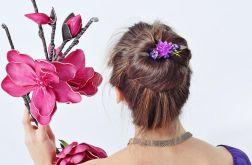 Kwiatowy grzebyk do włosów fioletowy