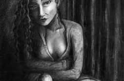 Siedząca - oryginalny rysunek 0212