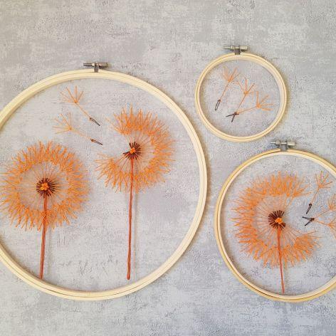 Haft na tiulu: pomarańczowe dmuchawce