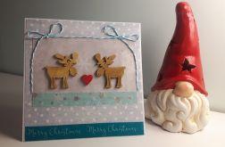 Kartka Boże Narodzenie handmade łosie serce