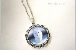 Medalion, naszyjnik - Biały lis - polarny