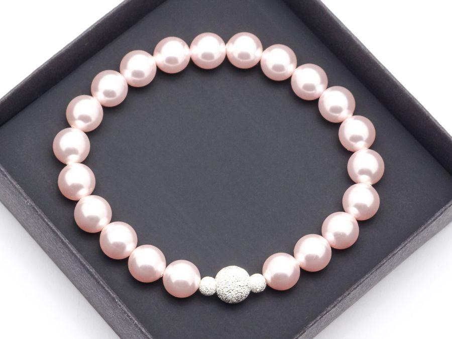 Bransoletka z pereł Swarovskiego rosaline