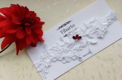 Ślubna biała koronkowa podwiązka na wymiar