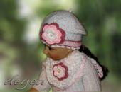 beret/czapka z chustką biały