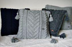 Szara poduszka w warkocze 45 x 45 cm