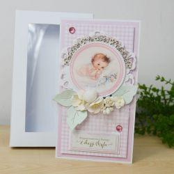 Chrzest - różowa kartka w pudełku