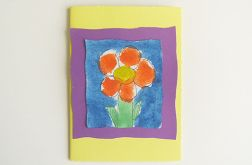 Kartka żółta z kwiatkiem 16