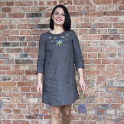 Tunkia / Sukienka Lniana z haftem – grafit