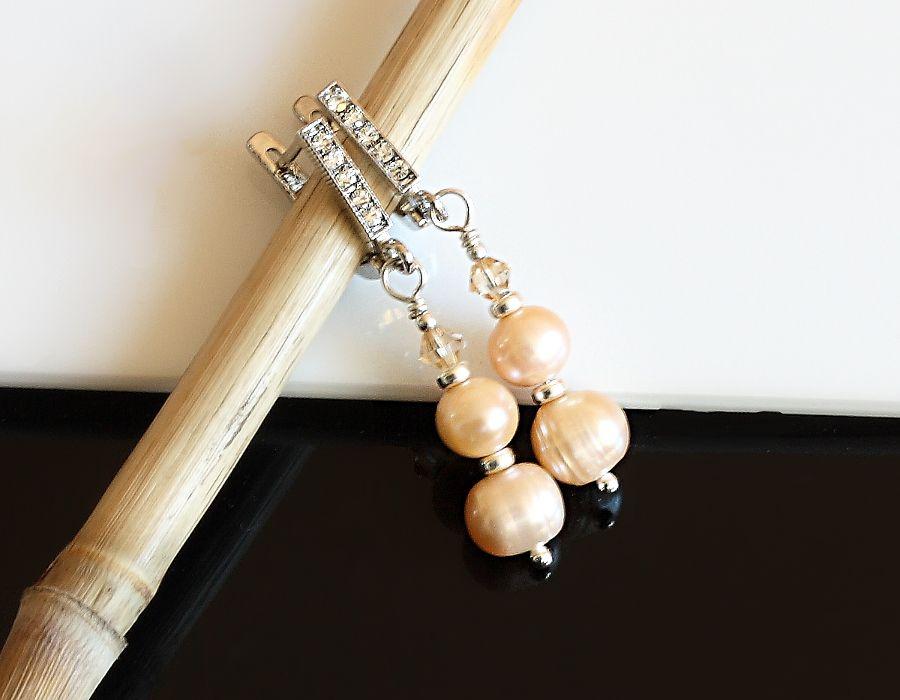 Złociste kolczyki - perły i kryształy Swarovskiego