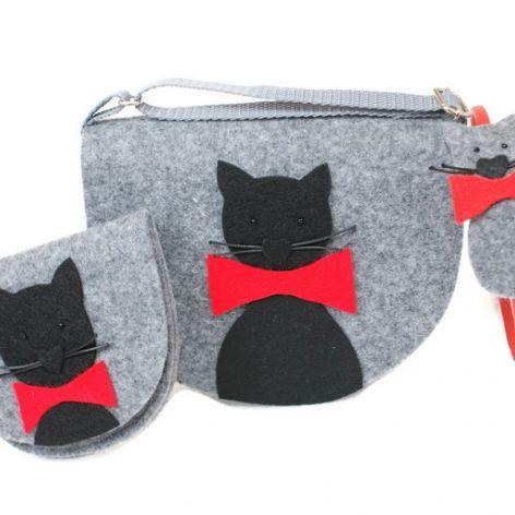 Mała torebeczka z kotkiem, portfel i opaska