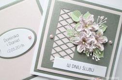 Kartka W DNIU ŚLUBU z różowymi kwiatami #1