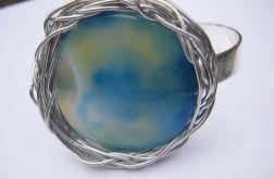 Błękitny agat, bransoleta sztywna, metaloplastyka