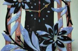 """Artystyczna kompozycja ze szkła - zegar """"Kwiatowy wir"""""""