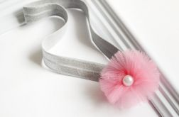 FairyBows * opaska * kwiatek z tiulu * różowy