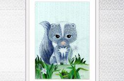 Skunksik, ilustracja dziecięca kredkami