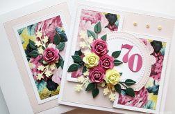 Kartka URODZINOWA z różowo-żółtymi kwiatami