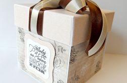 Pudełko, kartka ślubna brązowo - beżowa nr 1