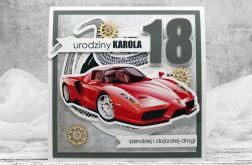 kartka na 18 dla chłopaka czerwone Ferrari