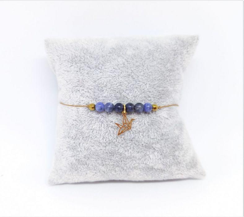 Bransoletka mocy: niebieski sodalit i koliber - Biżuteria na prezent