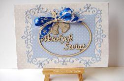 Wesołych Świąt niebieska kartka 011216