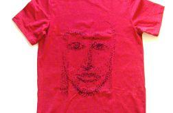 "rozmiar L Bordowa koszulka ""face""  - 1"